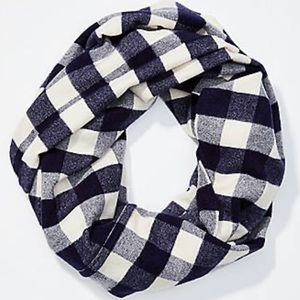 LOFT Navy Blue Gingham Infinity Scarf